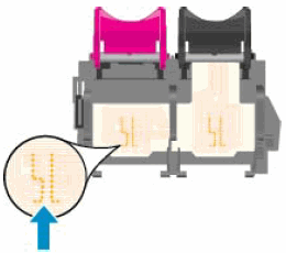 Illustration: Contacts électriques situés dans les logements de cartouches