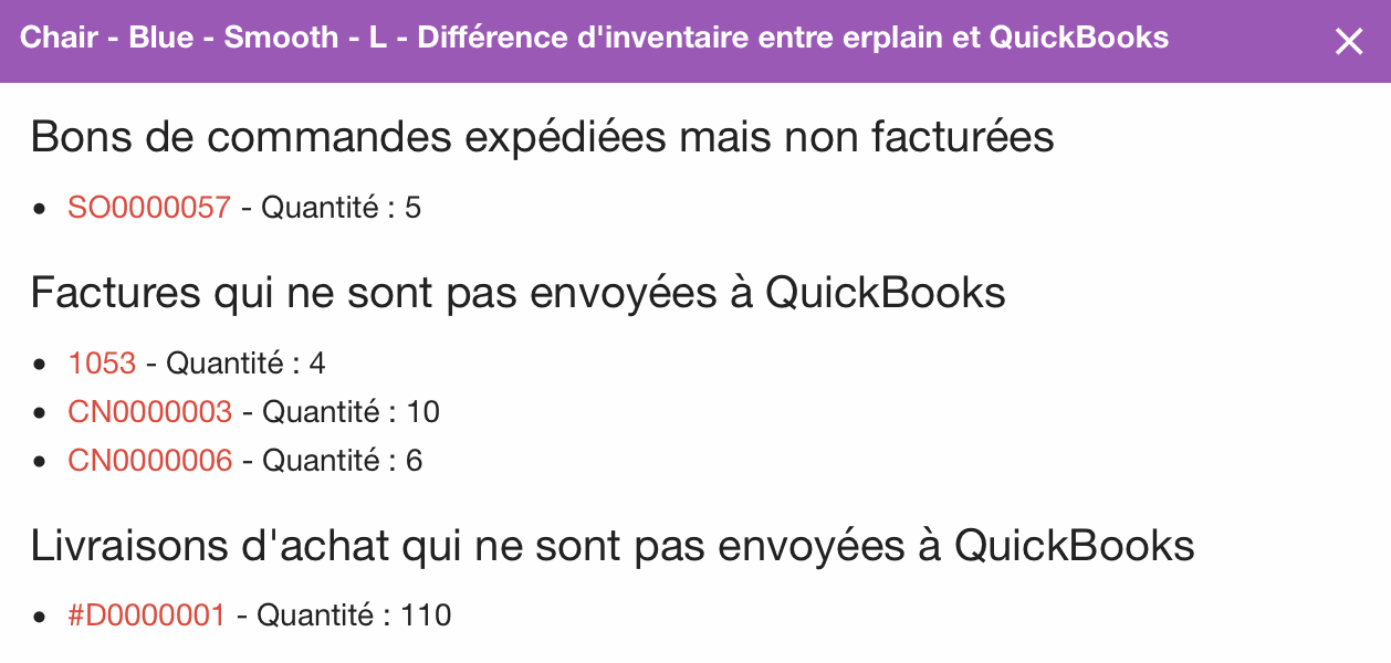 Details des stocks QBO vs erplain