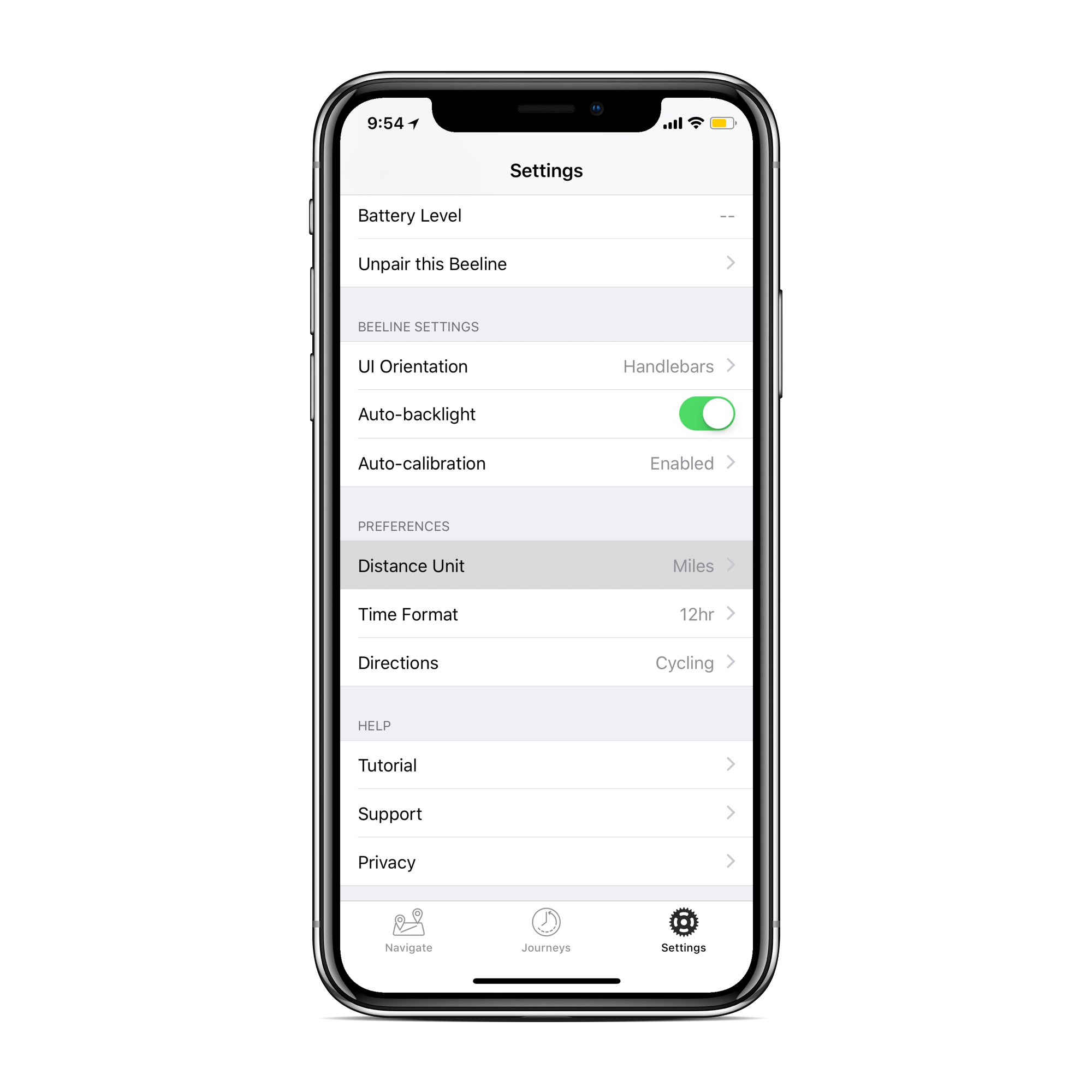 Screen on the Beeline app in Settings with the distance unit highlighted
