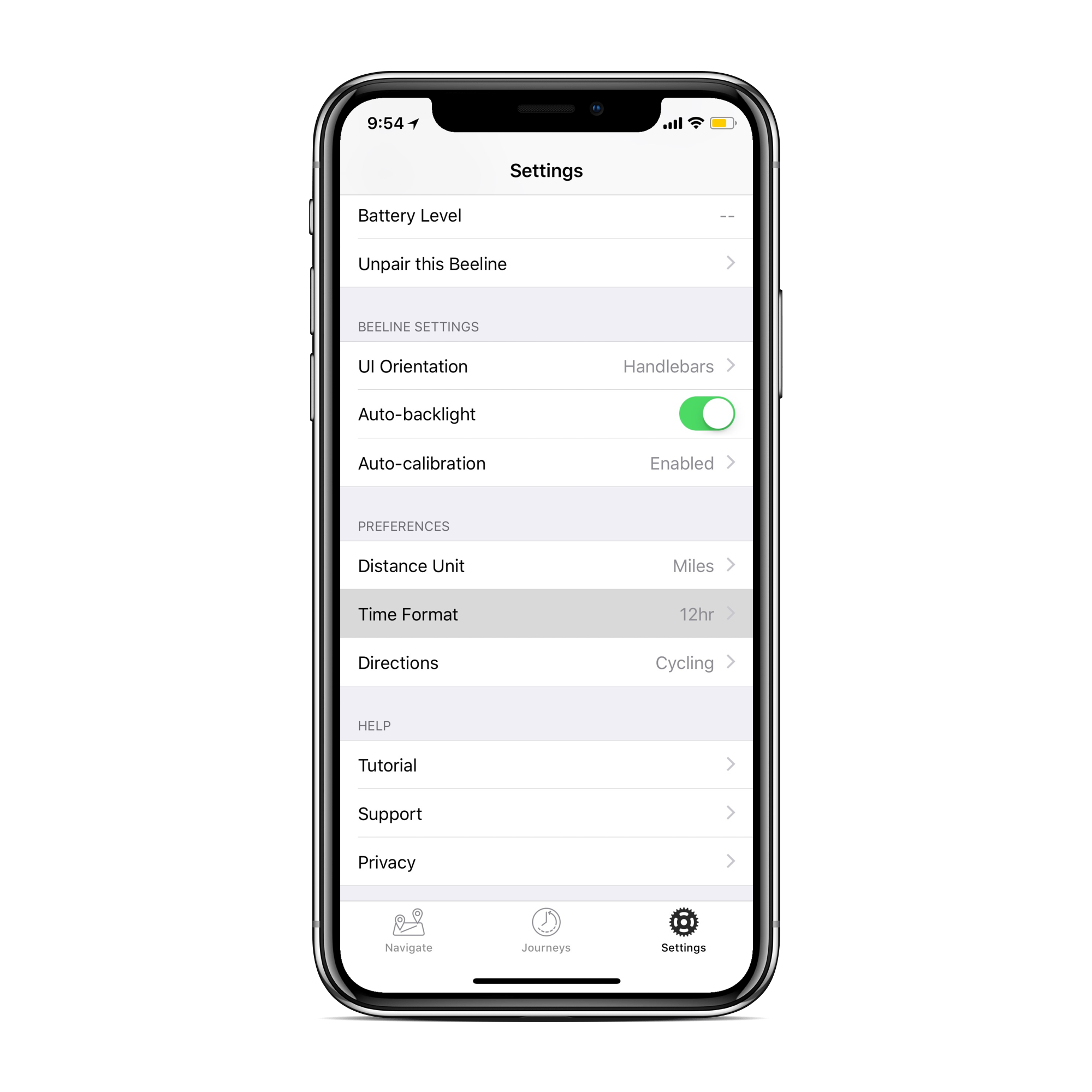 Screen on Beeline app showing settings page with time format highlighted