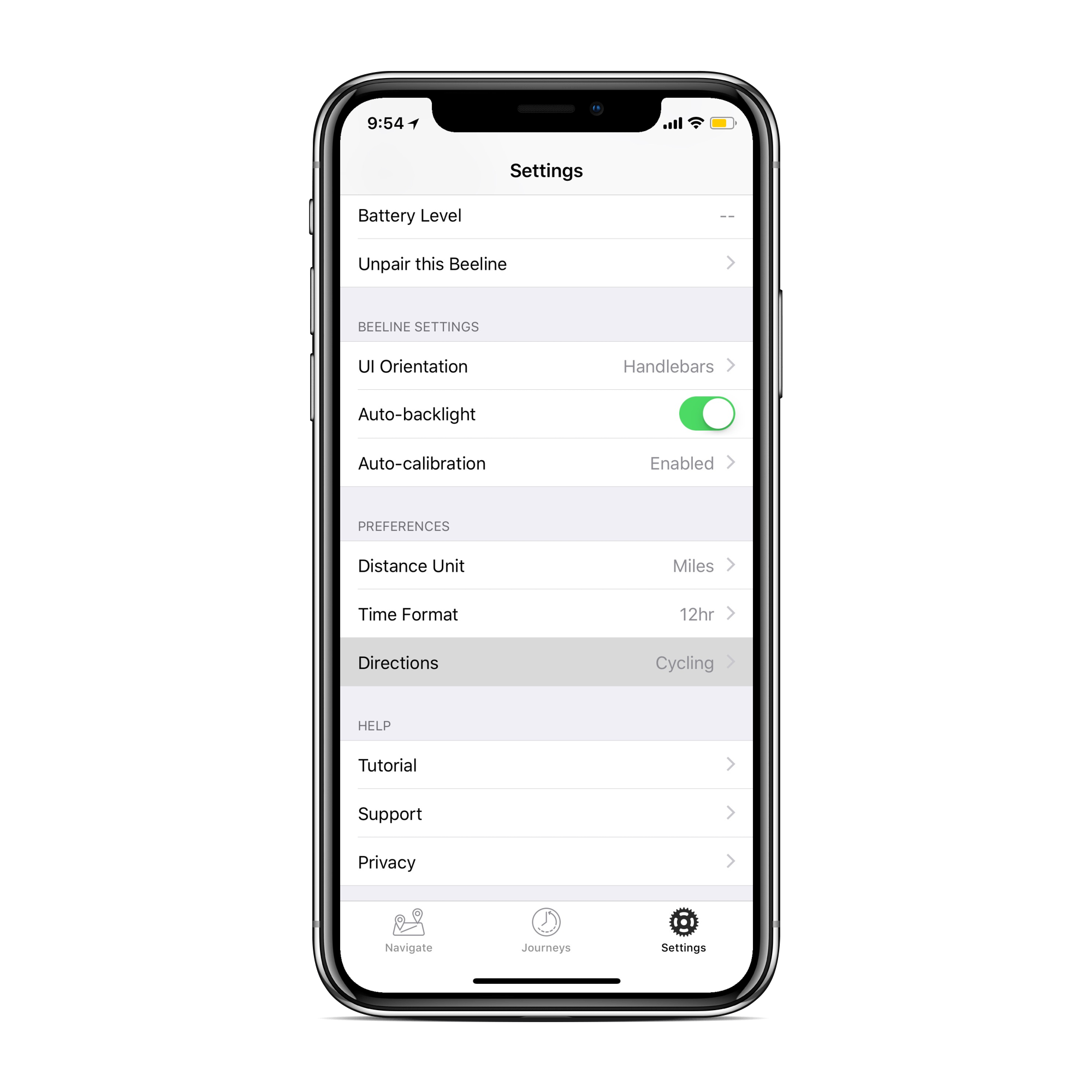 Screen showing the Beeline app in settings with directions preferences highlighted