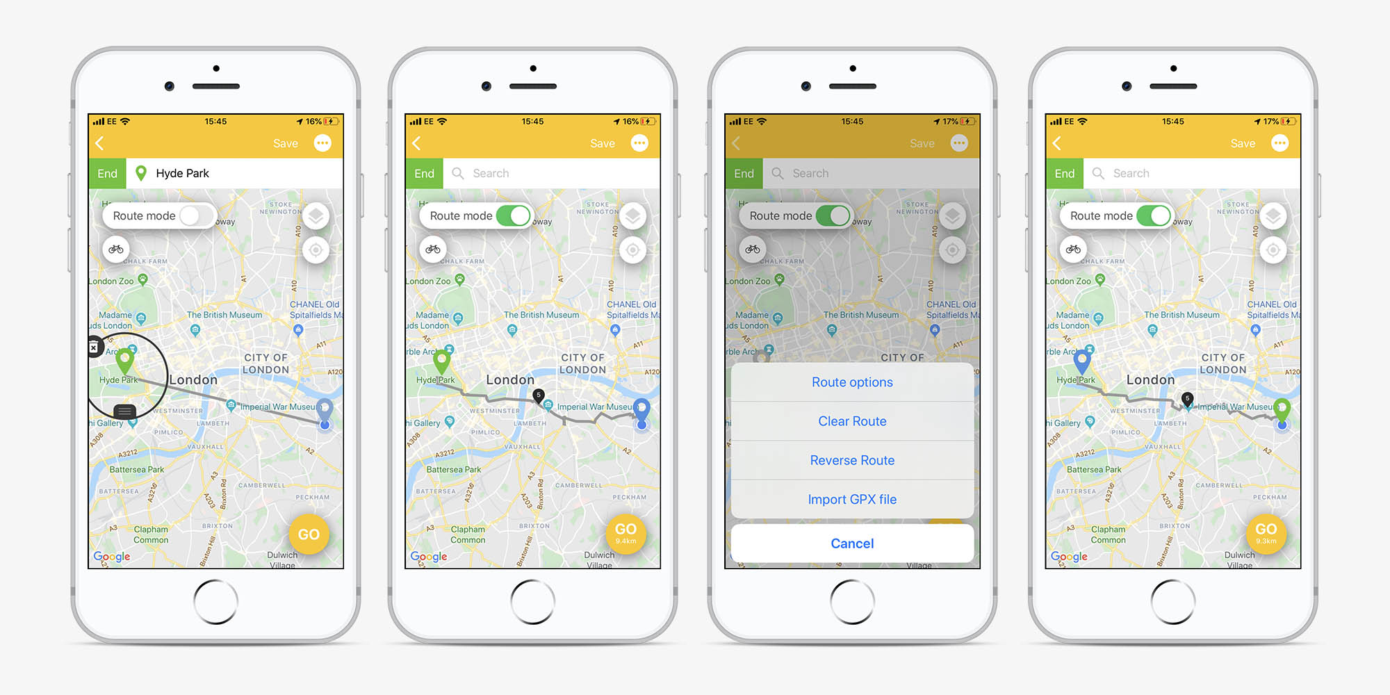 Screens showing the process of reversing a route in the Beeline app