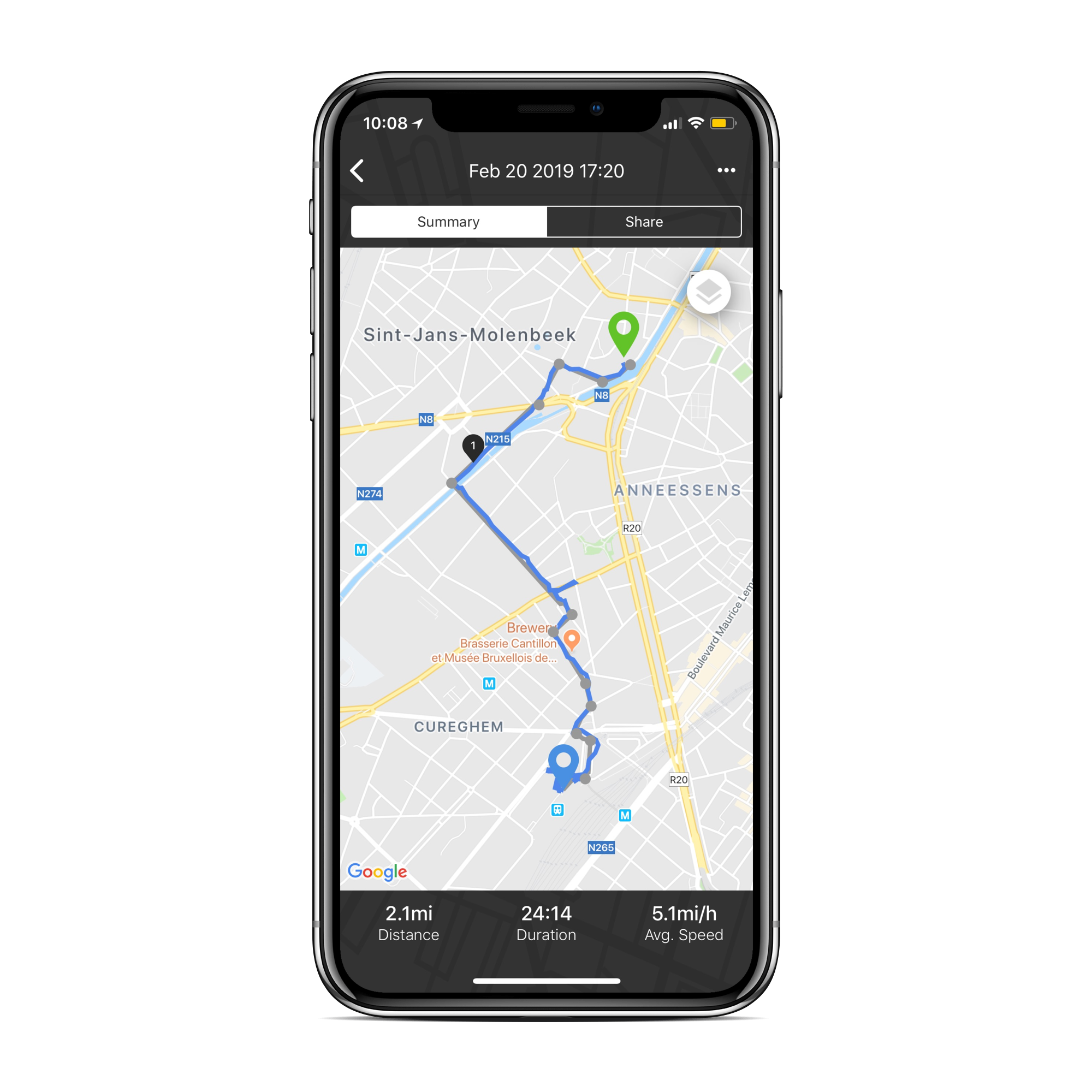Screen showing a route that has been ridden on the Beeline app