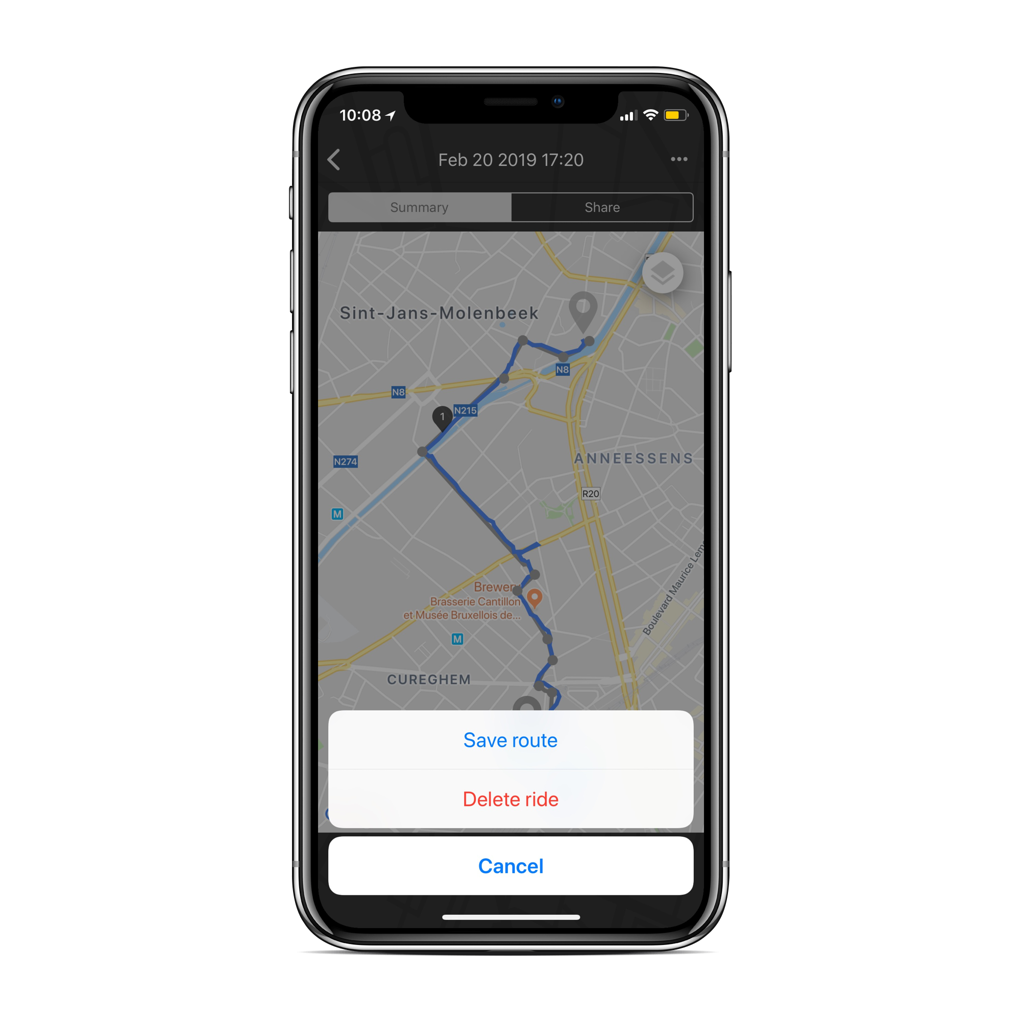 Screen of Beeline app showing the option to save a route of delete it