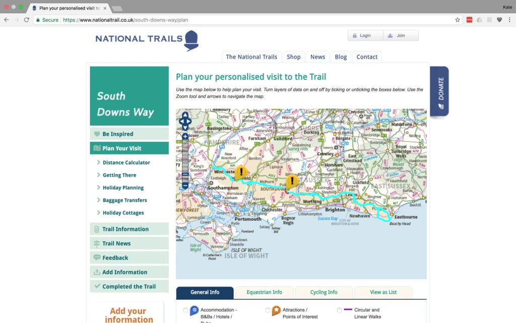 Screenshot from National Trails website planning a route