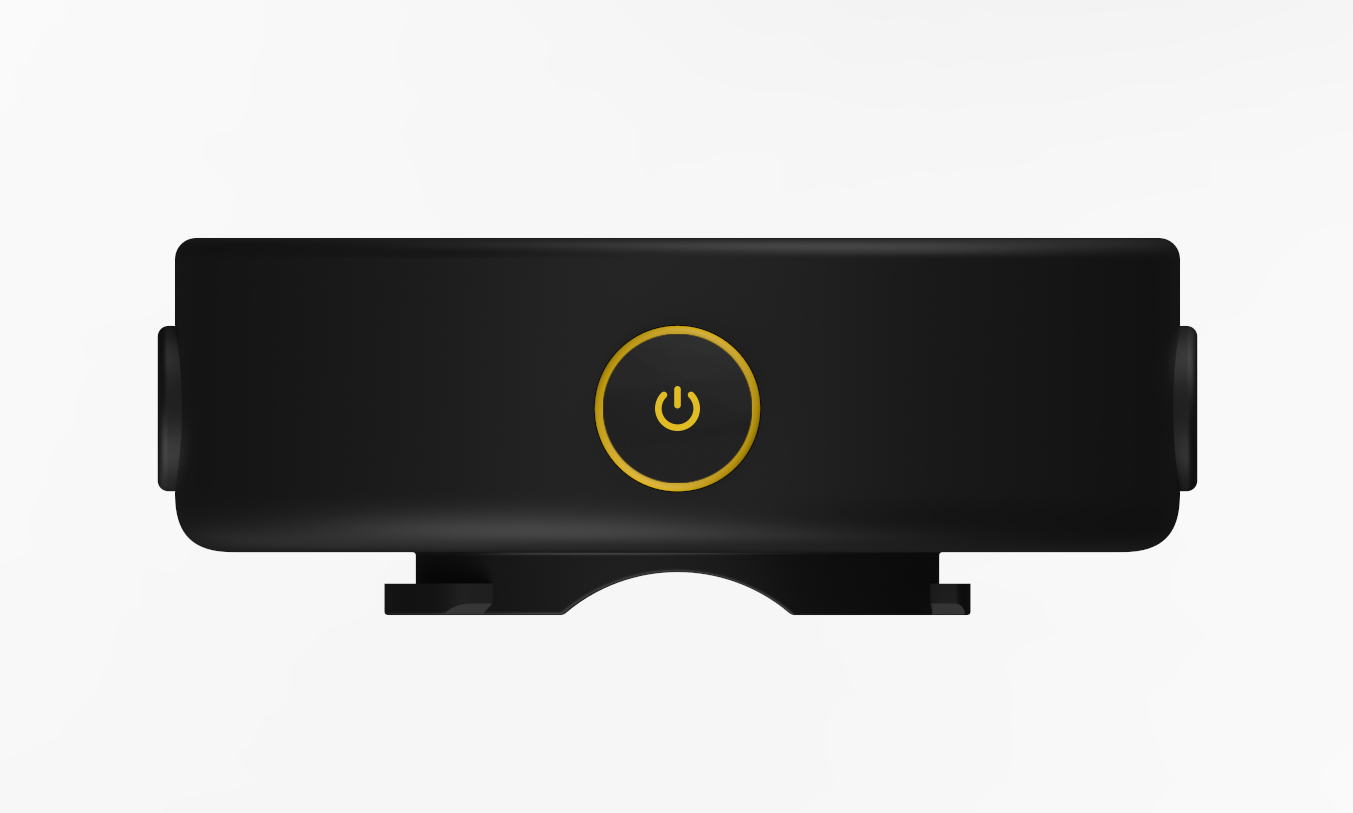 Image showing the top of a black Beeline Moto with yellow power button