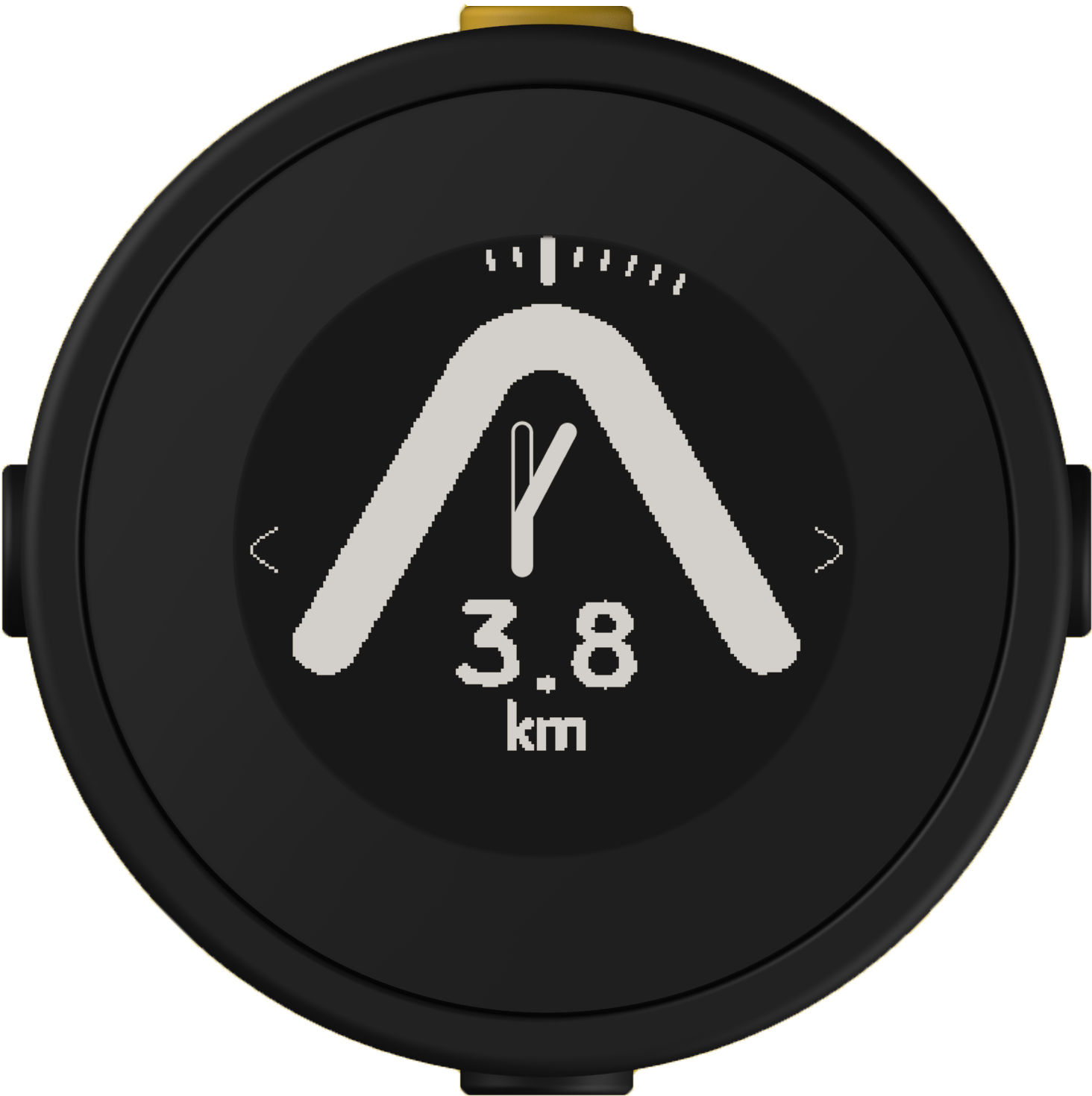 Beeline Moto with fork indicator showing to take the right turn in 3.8km