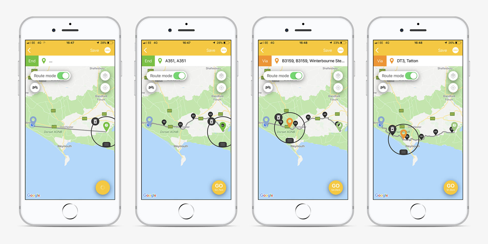 Screens from the Beeline app showing a route being planned with waypoints for use in Route Mode