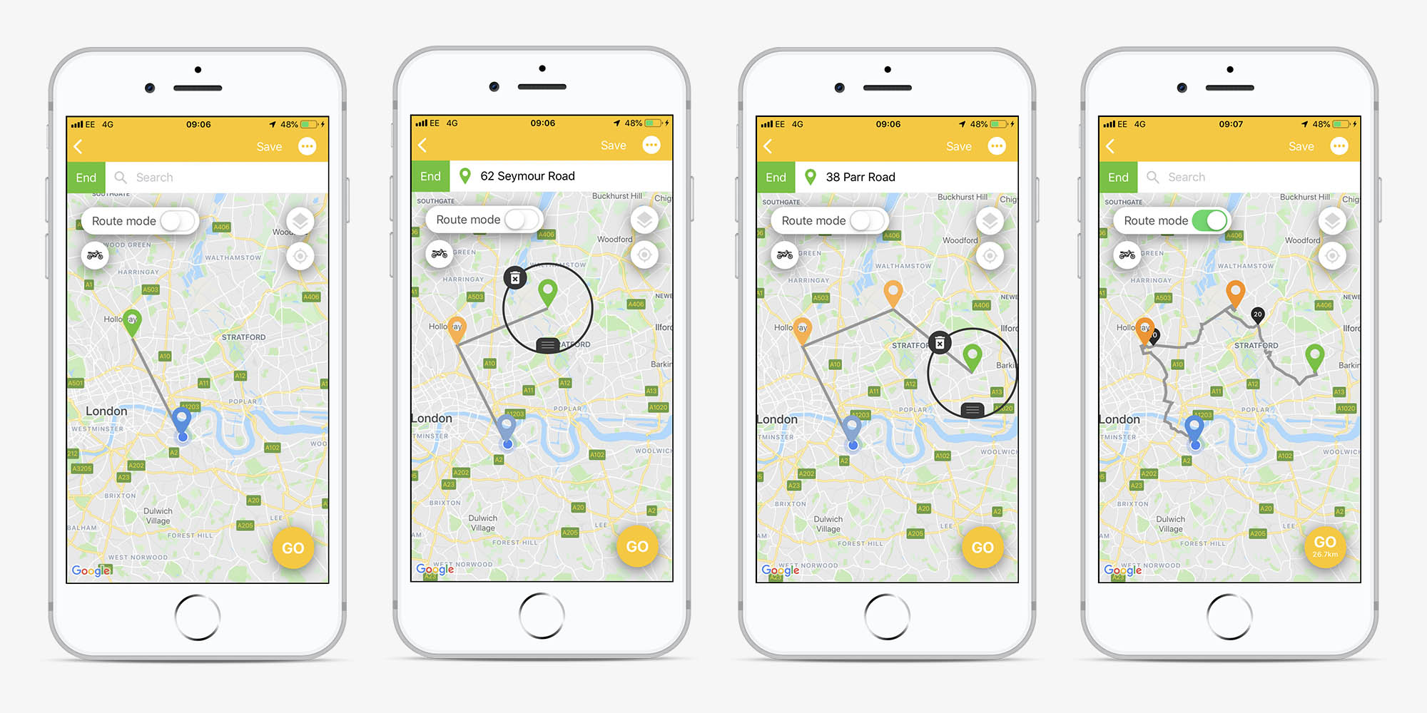 Screens from the Beeline app showing waypoints being added one by one by green pointers