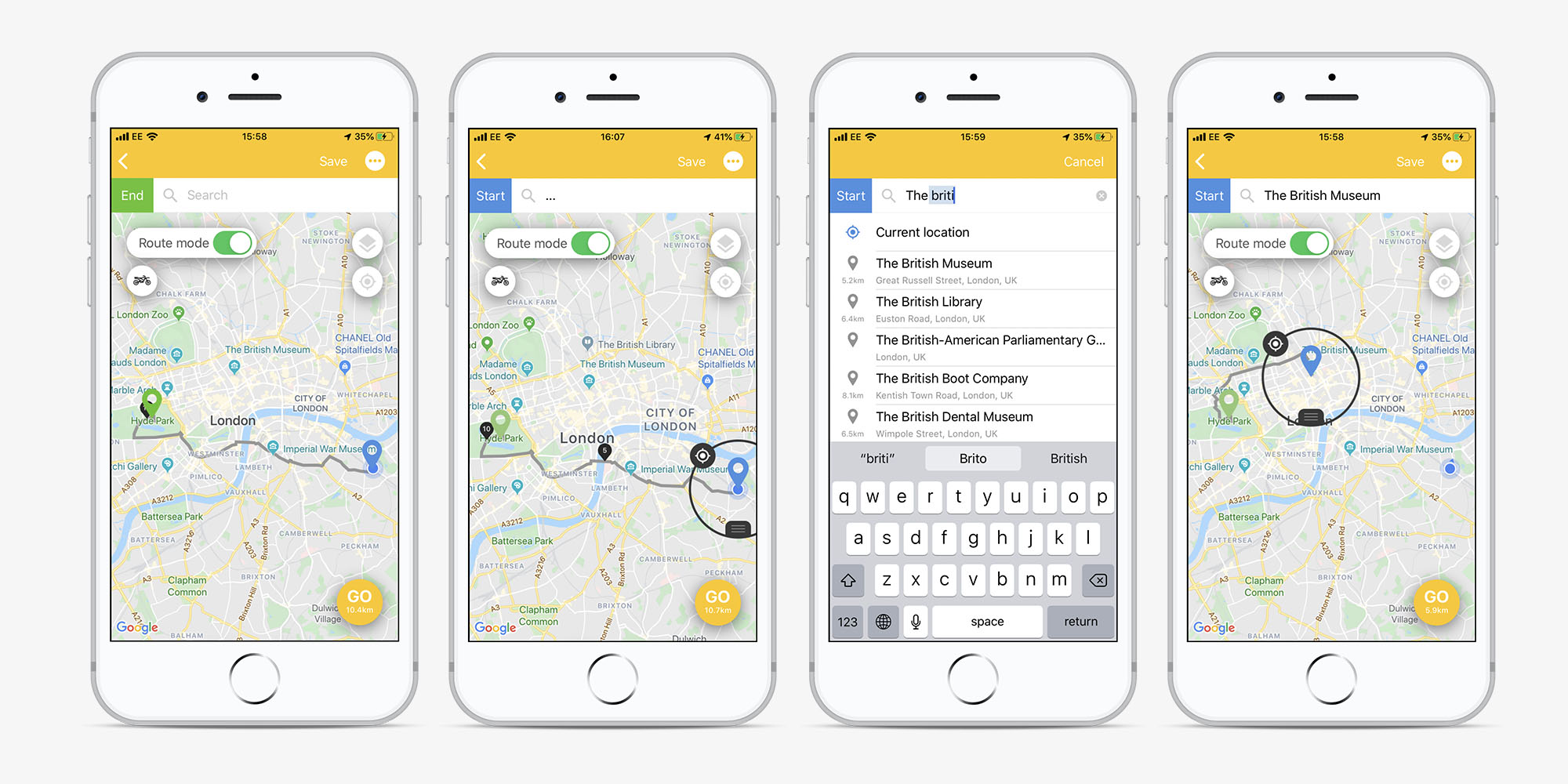 Screens of the Beeline app showing how to change the start destination of your journey