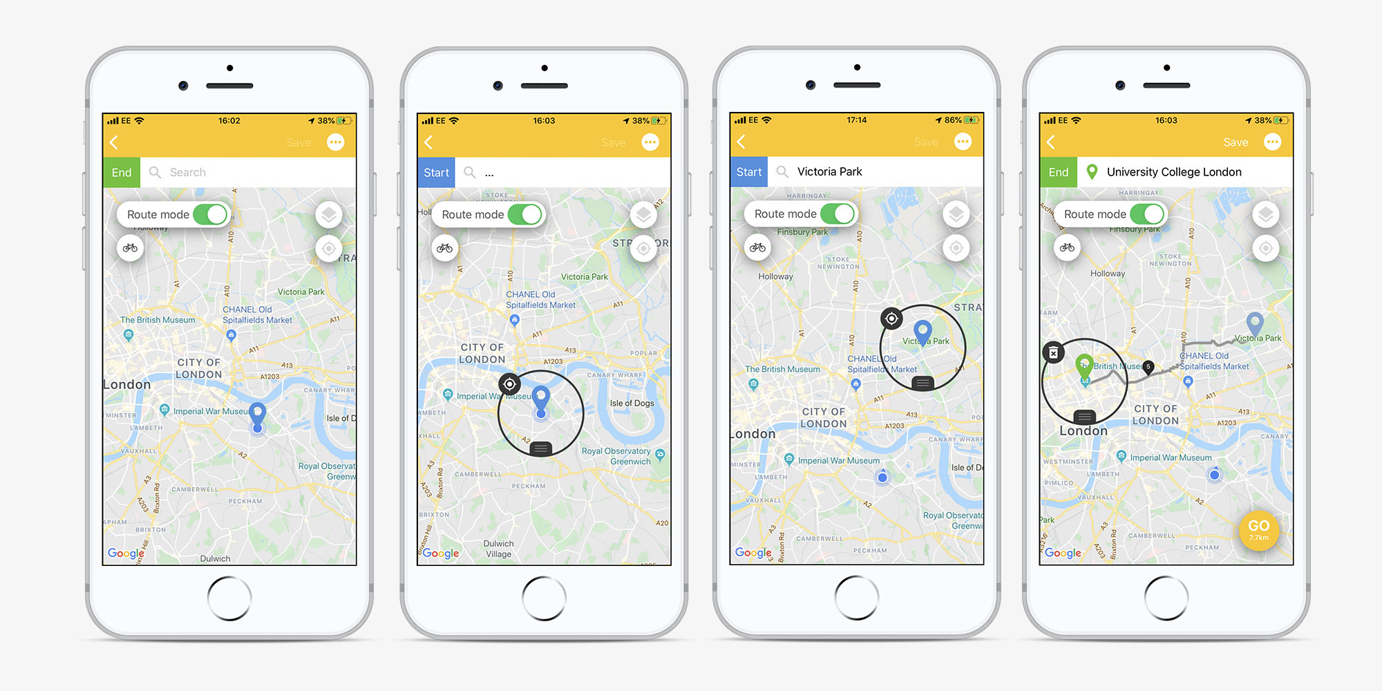 Screens showing route planning map in the Beeline app