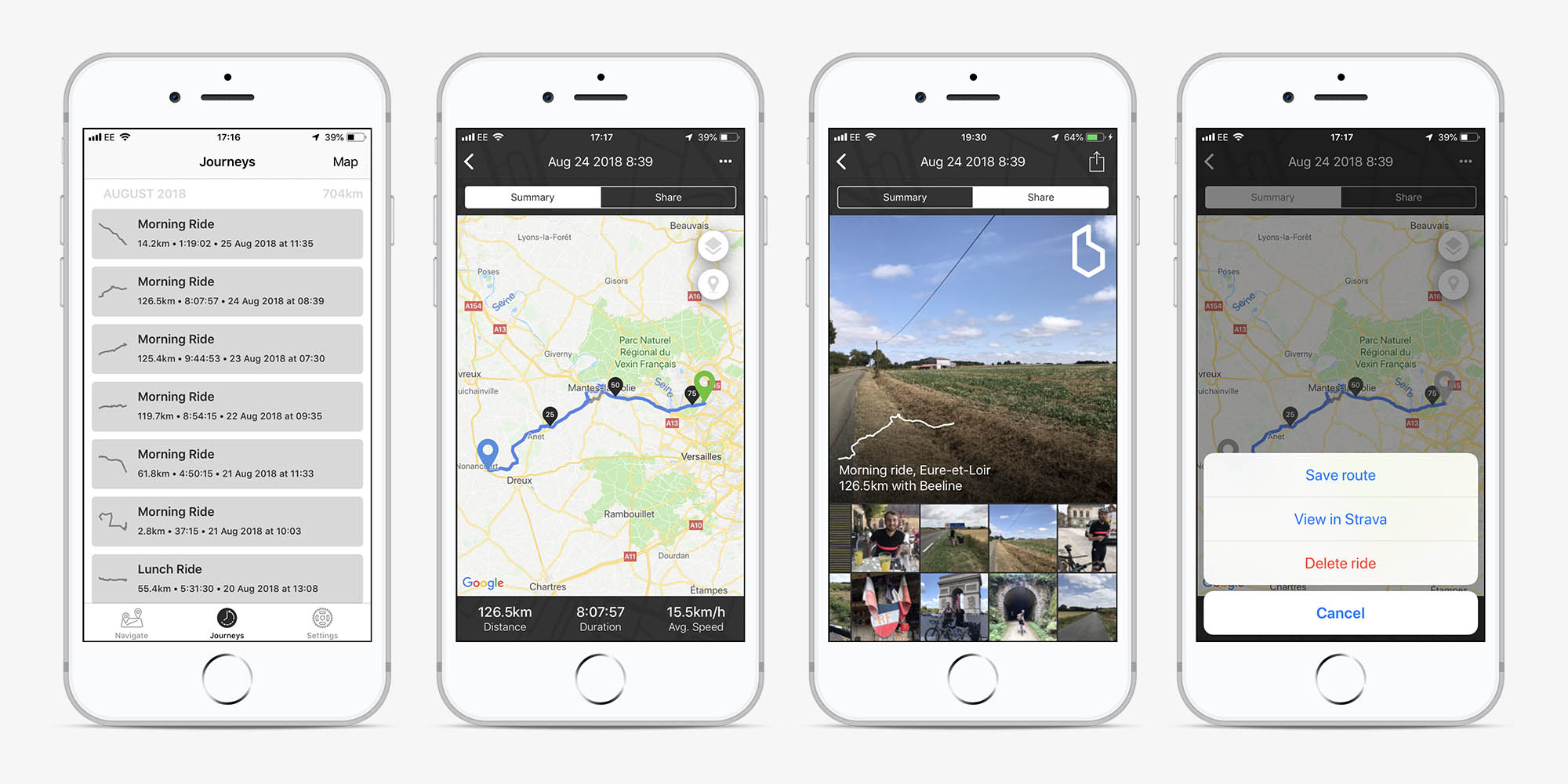 Screens in the Beeline app showing the journeys tab, a journey summary, a journey being shared and saving a route.