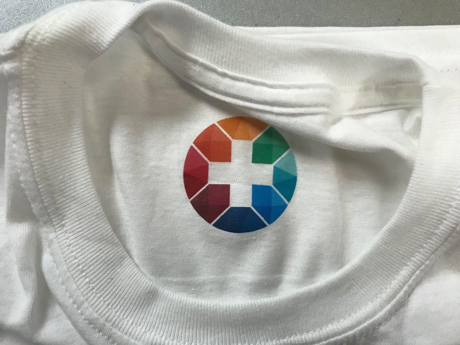 Colour print on white cotton t-shirt