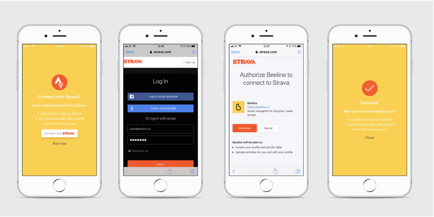 Screens of an iPhone showing a Strava account being connected during a Beeline account setup