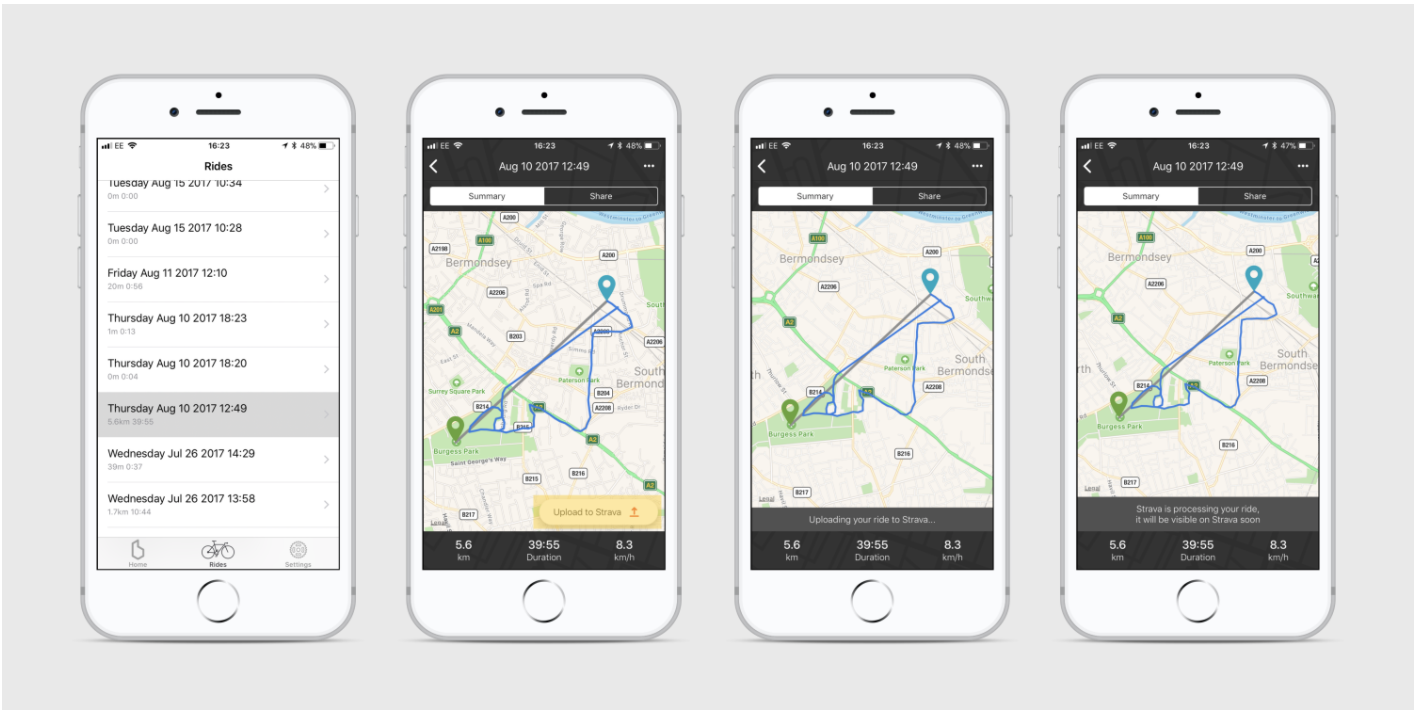 Screens on an iPhone showing rides in the Beeline app being synced to a Strava account