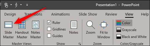 Slide Master option in Master Views group