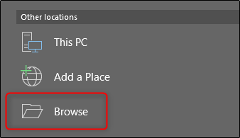 browse for save location