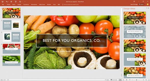 Designer enhances photos on slides with a single click.