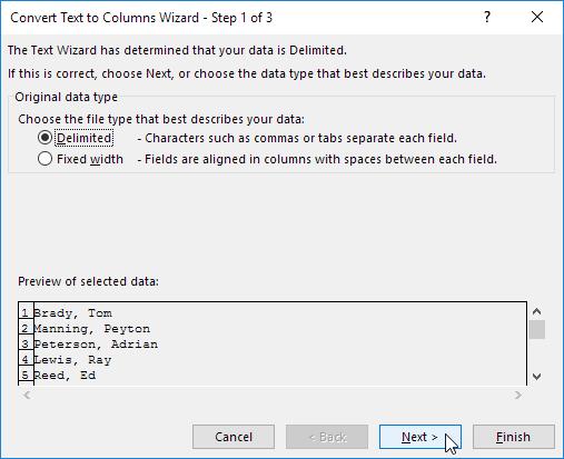 Convert Text to Columns Wizard - Step 1