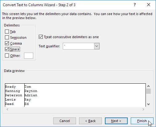 Convert Text to Columns Wizard - Step 2