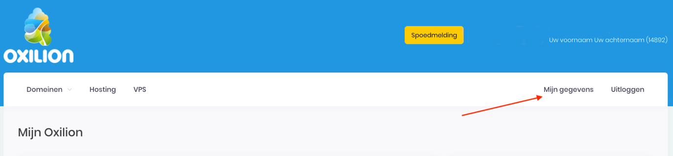 Screenshot van Mijn Oxilion om aan te duiden waar Mijn gegevens staat