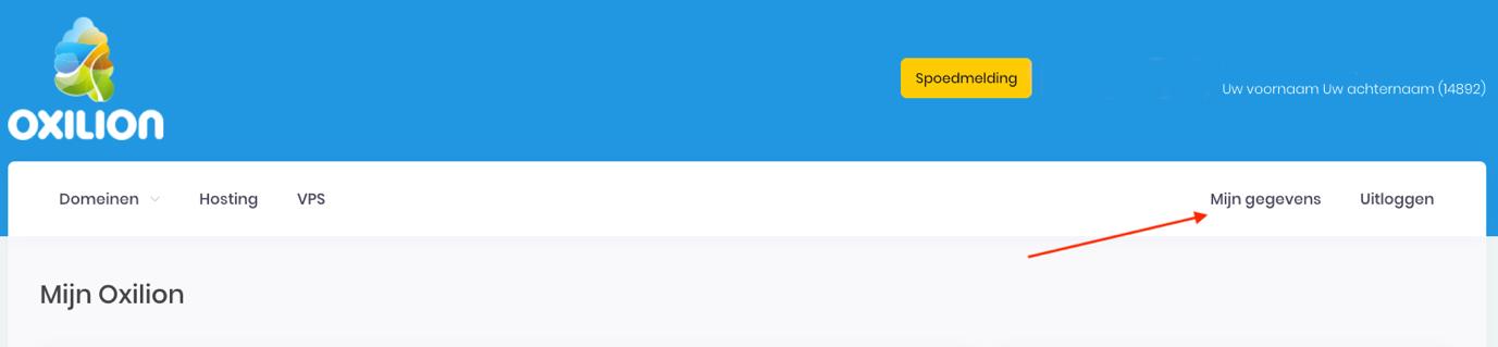 Screenshot van Mijn Oxilion waar getoond wordt waar Mijn gegevens zich bevindt