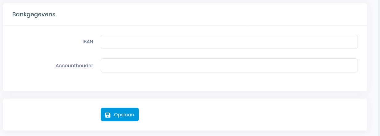 Screenshot van Mijn Oxilion ter illustratie van de lege velden bij bankgegevens