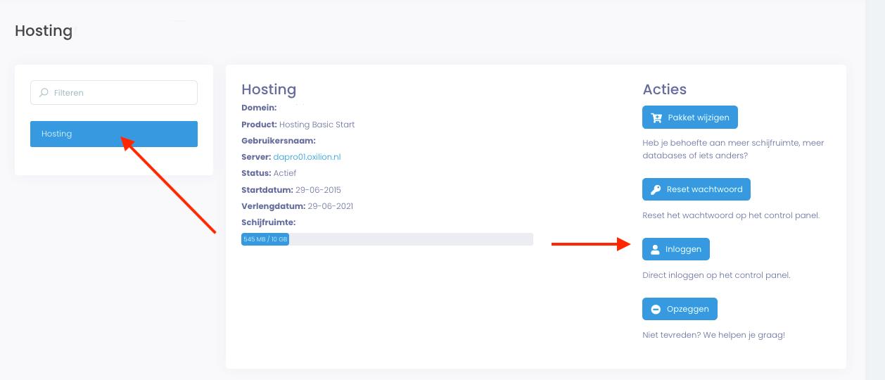 Weergave van de pagina met details van een hostingpakket met de knop inloggen.