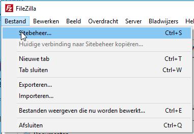 Sitebeheer optie in Bestand van Filezilla.