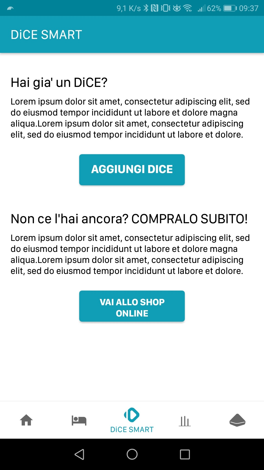 The DiCEhome app reports that the DiCE SMART is not connected