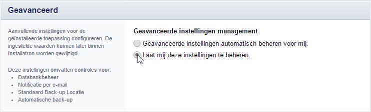 Geavanceerde instellingen scherm van Installatron.