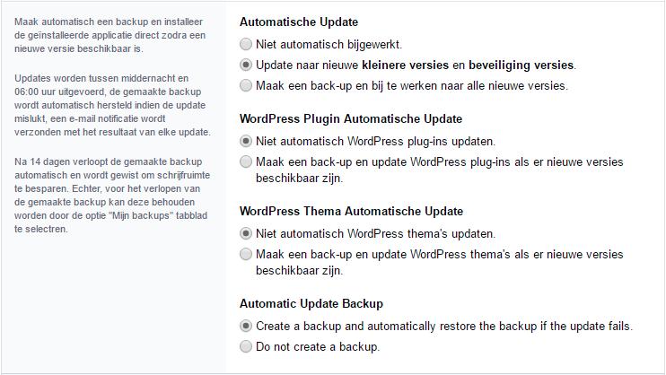 Instellingen voor automatisch bijwerken en back-uppen van je applicatie in Installatron.