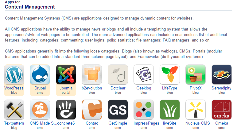 Overzicht van Content Management apps in Installatron.