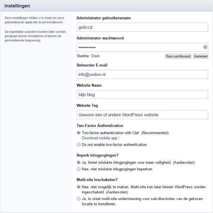 Instellingen voor de applicatie aangaande het account en beveiliging in Installatron.