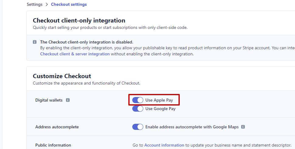 Панел за активиране на опцията Използвай Apple Pay (Use Apple Pay)