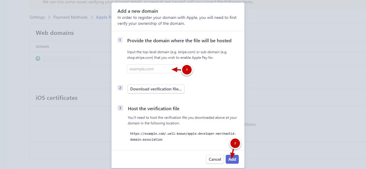 Добавяне и потвърждаване на домейн в настройките на Apple pay