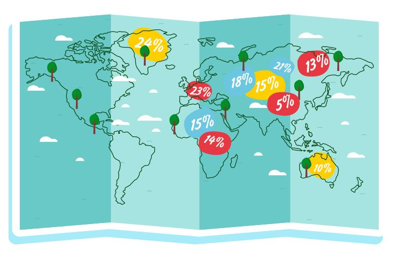 Карта на света с данъците в отделните държави