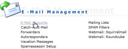 E-mail Management binnen DirectAdmin met de link E-Mail Accounts.