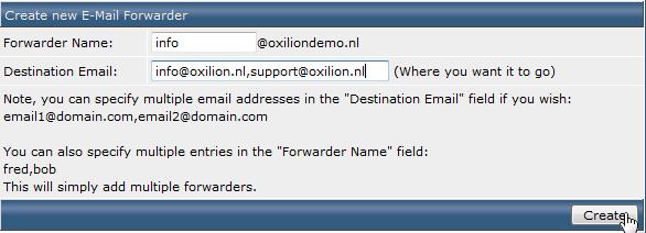 Menu voor inrichten van een e-mail forwarder in DirectAdmin.