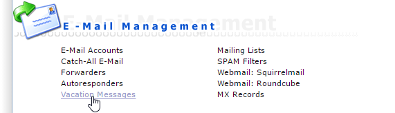 Link Vacation Messages onder de sectie E-Mail Management in DirectAdmin.
