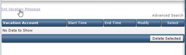 Link naar Set Vacation Message binnen DirectAdmin.