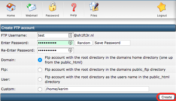 Velden die ingevuld dienen te worden bij de optie om een nieuw FTP account aan te maken.