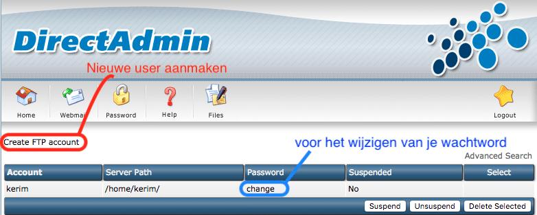 Weergave voor het aanmaken van een Nieuw FTP account binnen FTP management.
