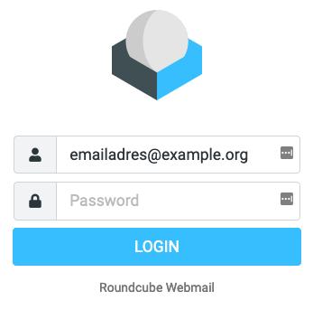 Inlogscherm van Roundcube webmail.