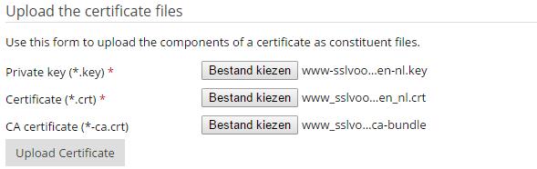 De drie opties voor het uploaden van de juiste SSL-bestanden.