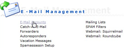Optie e-mail accounts onder e-mail management in DirectAdmin