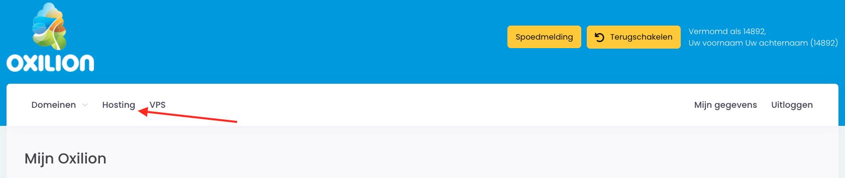Screenshot waarop duidelijk wordt waar het tabblad Hosting te vinden is.