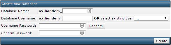 Velden binnen DirectAdmin voor het maken van een MySQL database en gebruiker.