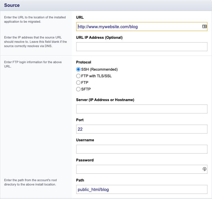 Pagina met gevraagde informatie voor de import van een applicatie via Installatron.