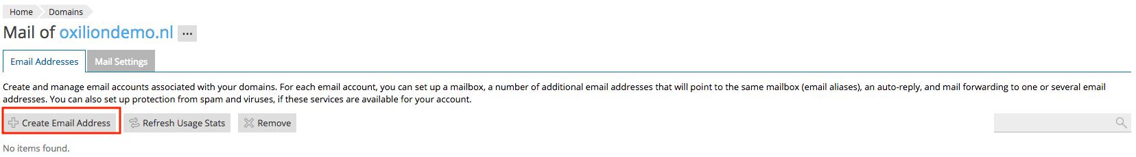 Weergave van de knop om een e-mailadres aan te maken binnen Plesk.